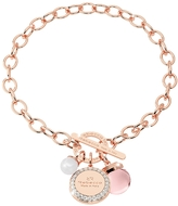Rebecca Hollywood Stone Rose Gold Over Bronze Chain Bracelet w/Hydrothermal Pink Stone and Glass Pearl