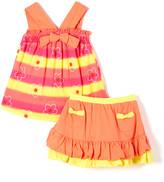 Young Hearts Girls' Casual Skirts ORANG - Orange & Fuchsia Ruffle Top & Skirt - Toddler