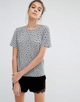 Glamorous Plisse T-Shirt In Polka Dot Print