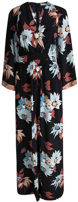 Etro Black Floral Printed Silk Embellished Cuff Detail Maxi Dress S