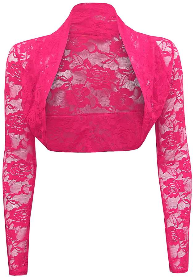 Trendy-Clothings Ladies Long Sleeve Lace Cropped Bolero Shrug Cardgian Top One Size