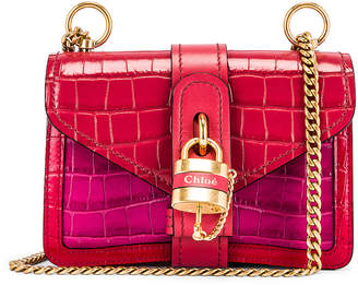Chloé Mini Aby Chain Tricolor Embossed Croc Shoulder Bag in Graphic Pink | FWRD