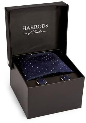 Harrods Woven Dot Tie and Cufflinks Set