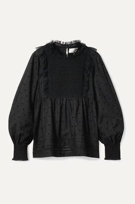 The Great The Portrait Tulle-trimmed Flocked Cotton-blend Voile Blouse
