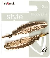 Scunci Style Gold Feather Bobby Pins 2s