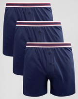 Asos Jersey Boxers In Navy With Stripe Waistband 3 Pack