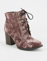 Soda Sunglasses Crushed Velvet Lace Up Womens Boots