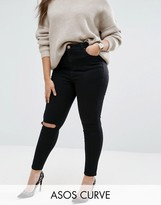 Asos Ridley Skinny Jeans in Clean Black with Rip & Destroy Busts