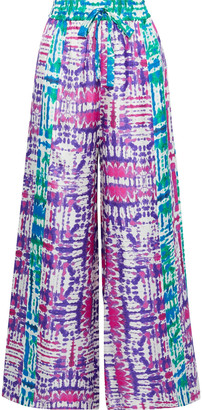 Prabal Gurung Tie-dyed Silk-faille Wide-leg Pants