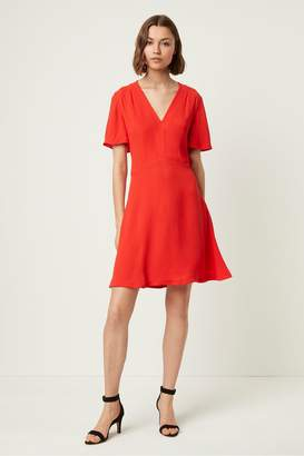 French Connection Galane Essian Crepe V Neck Dress