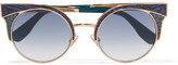 Jimmy Choo Ora Cat-eye Glittered Leather And Gold-tone Sunglasses - Blue