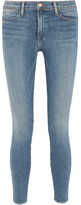 Frame Mid-rise Frayed Skinny Jeans - Mid denim