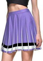 Sundray Women 3d Digital Printed Stretch Flared Pleated Casual Skater Mini Skirt L