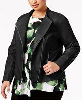 Alfani Plus Size Faux-Leather Peplum Jacket, Created for Macy's