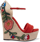 Gucci Appliquéd Suede Wedge Espadrille Sandals - Red