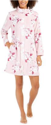 Miss Elaine Women Fleece Floral-Print Zipper Short Robe