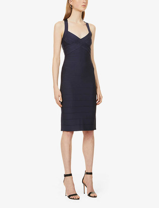 Herve Leger Bandage fitted stretch-jersey midi dress