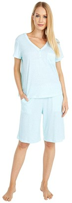 Karen Neuburger Sky and Forest Short Sleeve Bermuda Pajama (Sage Geo) Women's Pajama Sets