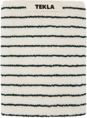 Tekla Off-White and Green Striped Hand Towel