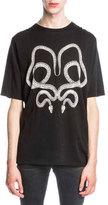 Saint Laurent Twin Serpents Graphic T-Shirt, Black