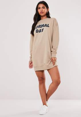 Missguided Stone Oversized Normal Day Slogan Sweater Dress