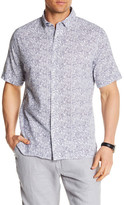 Toscano Short Sleeve Printed Linen Regular Fit Shirt