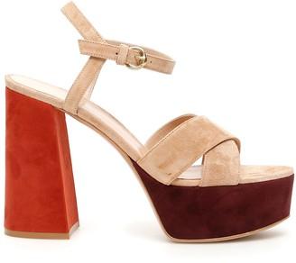 Gianvito Rossi Multicolor Suede Platform Sandals