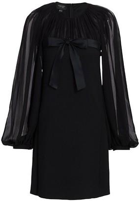 Giambattista Valli Bow Front Sheer-Sleeve Mini Dress