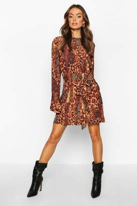 boohoo Animal Print Belted Shift Dress