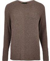 River Island MensBrown stitch block sweater