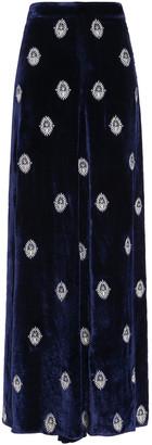 Seren London Joni Embroidered Velvet Wide-leg Pants