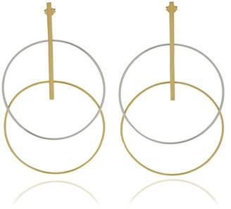 Georgina Jewelry Gold With Silver Two Tone Circle Earrings