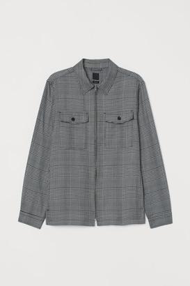 H&M Checked Shirt Jacket - Black
