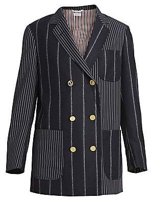 Thom Browne Women's Double Breasted Stretch-Wool Sack Jacket
