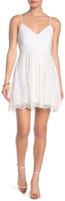 Jump Pleated Floral Lace Party Dress