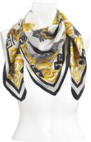 Versace 90x90 Dragon Scarf in Black and White Silk