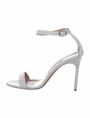 Manolo Blahnik Leather Ankle Strap Sandals White