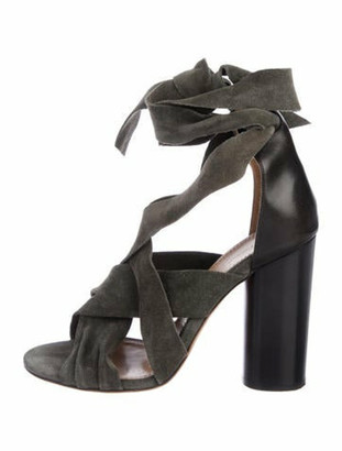 Isabel Marant Suede Wrap-Around Sandals Green