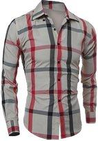 CFD Mens Fashion Button Down Plaid Long Sleeve Dress Shirt M