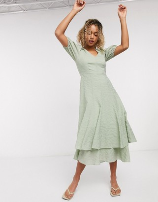 And other stories & textured double skirt maxi dress in green