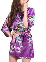 Cliont Women's Kimono Robes Peacock and Blossoms Satin Nightwear Nightgown Short