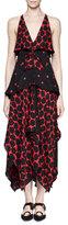 Proenza Schouler Sleeveless Tiered Handkerchief-Hem Mazi Dress, Black/Crimson