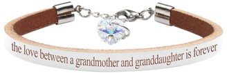 Genuine Leather Bracelet Made with Crystals From Swarovski by Pink Box Love Between Grandmother White
