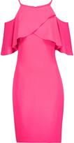 Badgley Mischka Cold-shoulder ruffled crepe dress