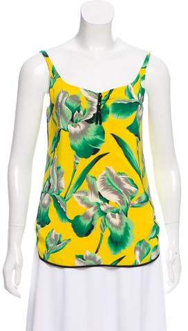 Marc Jacobs Sleeveless Floral Print Silk Top
