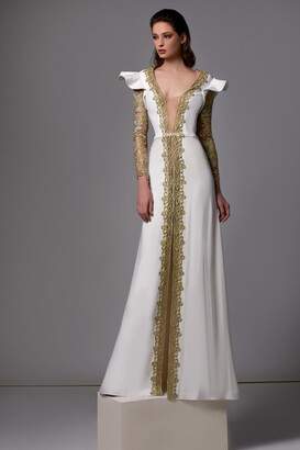Edward Arsouni Long Sleeve Crepe Gown with Gold Lace