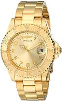 Invicta Women's Pro Diver Quartz Watch with Gold Dial Analogue Display and Gold Plated Bracelet 15249