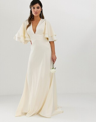 Asos Edition EDITION satin paneled wedding dress with flutter sleeve-Cream