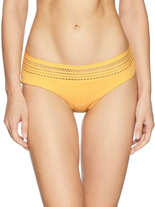 Robin Piccone Women's Perla Banded Bikini Bottom with Crochet Inset