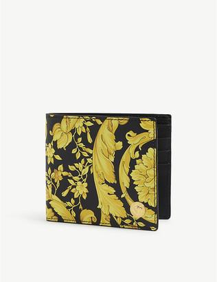 Versace Floral-print leather billfold wallet